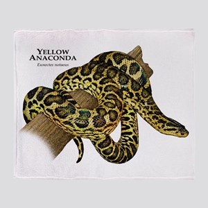 Yellow Anaconda Throw Blanket