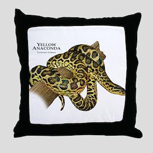 Yellow Anaconda Throw Pillow