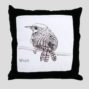 Little Brown Wren Throw Pillow