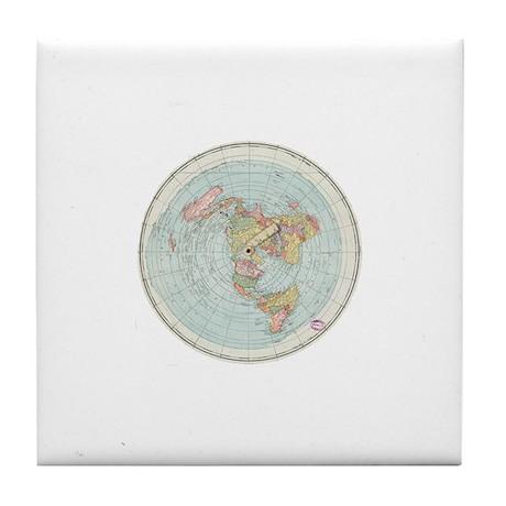 Flat Earth Gleason S Map 1892 Tile Coaster By Flattyflair