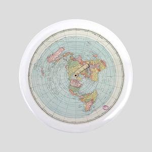 Flat Earth /Gleason's Map 1892 Button