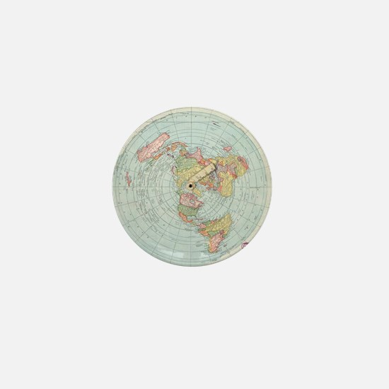 Flat Earth /Gleason's Map 1892 Mini Button