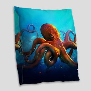Octopus Burlap Throw Pillow