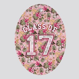 Class of 17 Floral Pink Oval Ornament