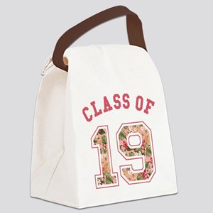 Class of 19 Floral Pink Canvas Lunch Bag