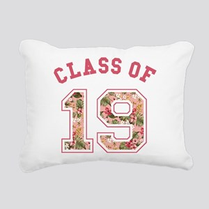 Class of 19 Floral Pink Rectangular Canvas Pillow