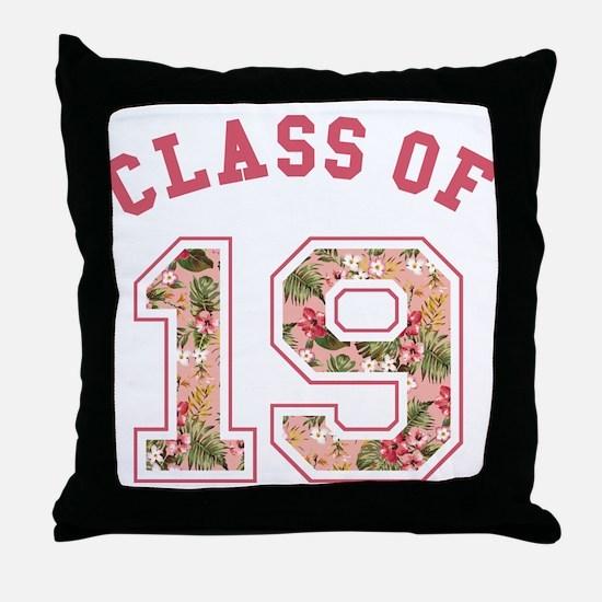 Class of 19 Floral Pink Throw Pillow