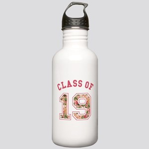 Class of 19 Floral Pink Water Bottle