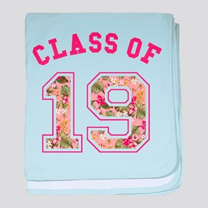 Class of 19 Floral Pink baby blanket