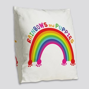 Rainbows And Puppies Burlap Throw Pillow