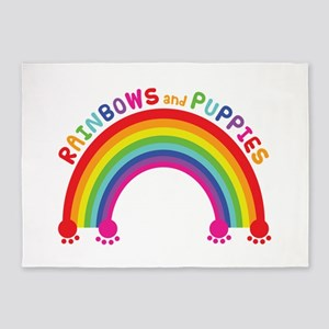Rainbows And Puppies 5'x7'Area Rug