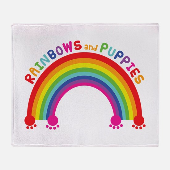 Rainbows And Puppies Throw Blanket