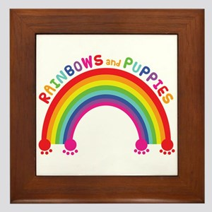 Rainbows And Puppies Framed Tile