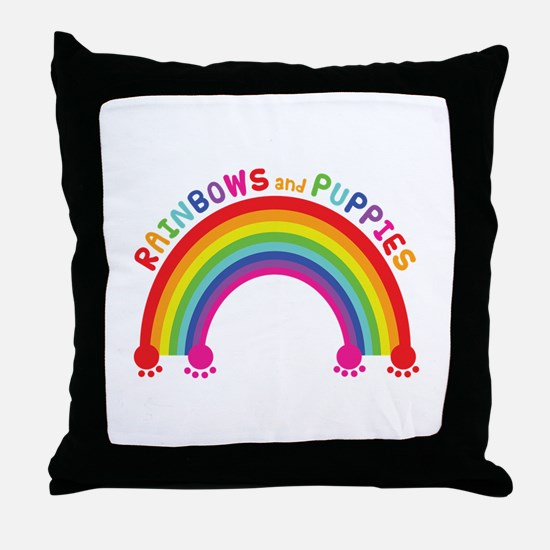 Rainbows And Puppies Throw Pillow