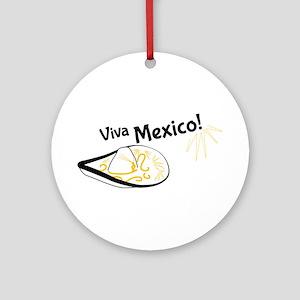 Viva Mexico Hat Round Ornament