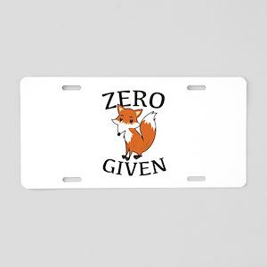 Zero Fox Given Aluminum License Plate