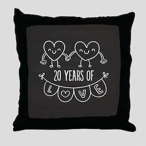 20th Anniversary Gift Chalkboard Hear Throw Pillow
