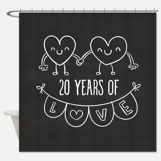 20th Anniversary Gift Chalkboard He Shower Curtain