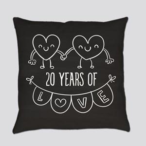 20th Anniversary Gift Chalkboard H Everyday Pillow