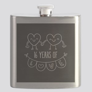 16th Anniversary Gift Chalkboard Hearts Flask