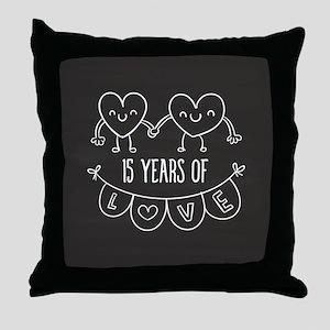 15th Anniversary Gift Chalkboard Hear Throw Pillow