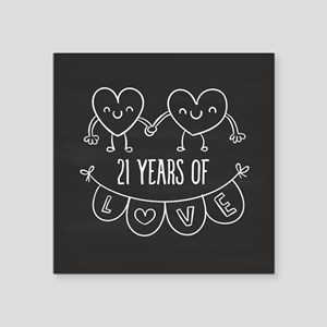 "21st Anniversary Gift Chalk Square Sticker 3"" x 3"""
