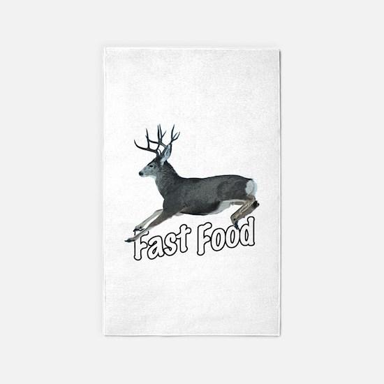 Fast Food Buck Deer Area Rug