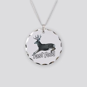 Fast Food Buck Deer Necklace Circle Charm