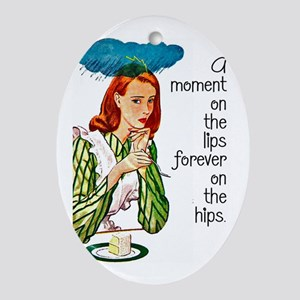 Moment On The Lips Oval Ornament