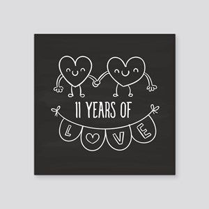 "11th Anniversary Gift Chalk Square Sticker 3"" x 3"""
