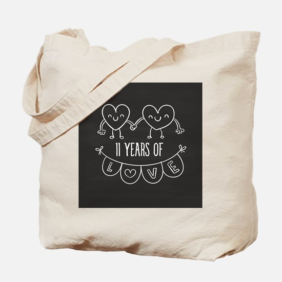 11th Anniversary Gift Chalkboard Hearts Tote Bag