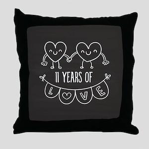 11th Anniversary Gift Chalkboard Hear Throw Pillow