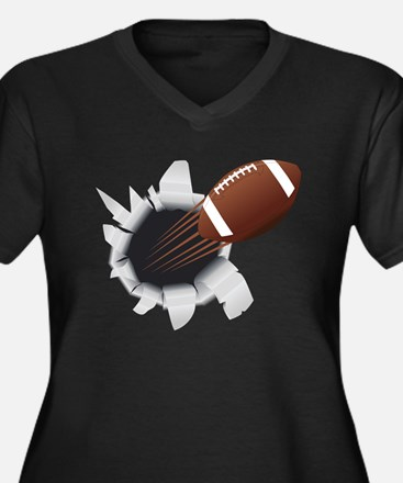 Football Flying Out Of Hole Plus Size T-Shirt
