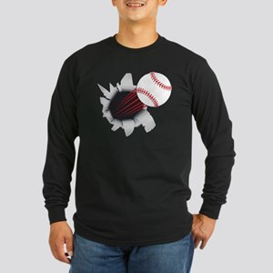 Baseball Flying Out Of Hole Long Sleeve T-Shirt