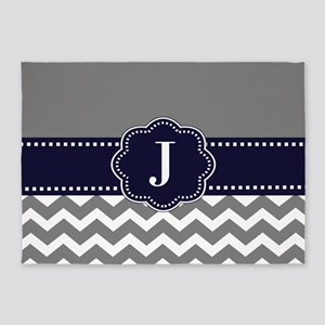 Gray Navy Chevron Monogram 5'x7'Area Rug