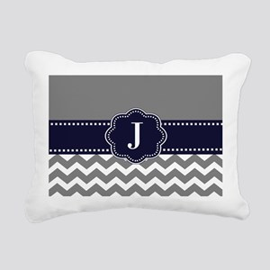 Gray Navy Chevron Monogram Rectangular Canvas Pill