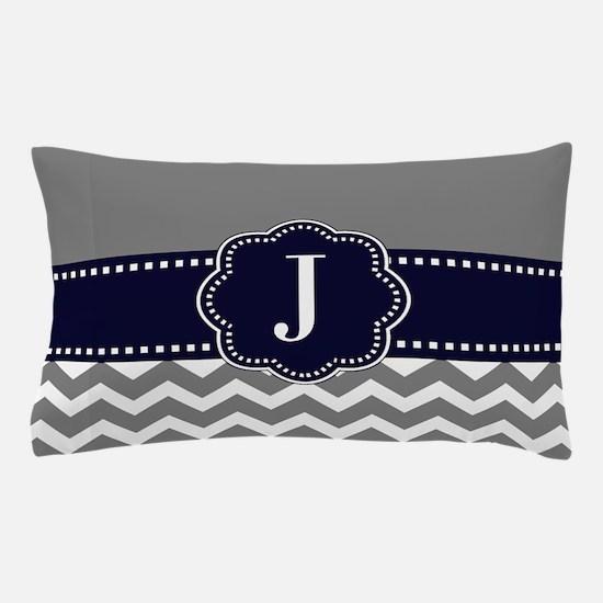 Gray Navy Chevron Monogram Pillow Case