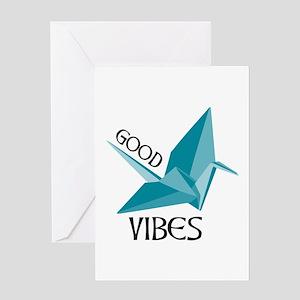 Origami crane greeting cards cafepress good vibes crane greeting cards m4hsunfo