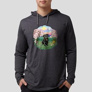 Blossoms- Black Pug 13 Mens Hooded Shirt