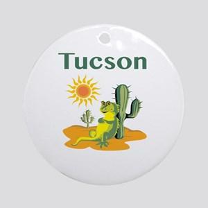 Tucson Lizard Under Cactus Round Ornament