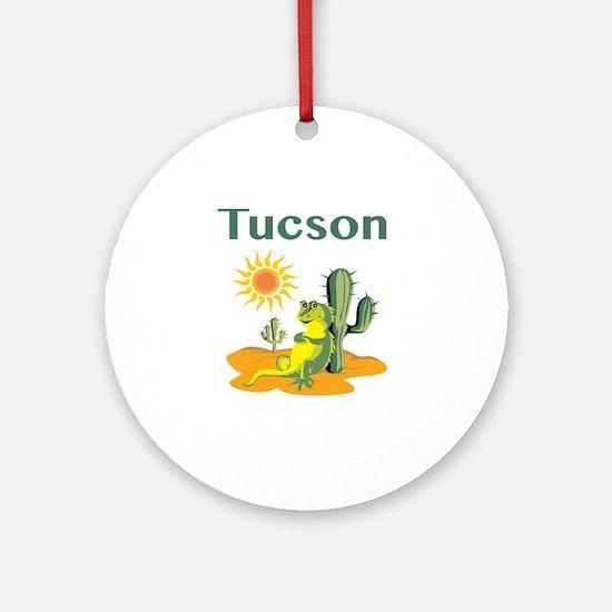 Tucson Lizard Under Cactus Round Ornament
