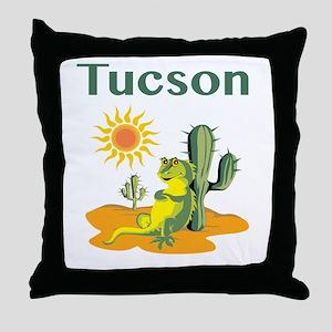 Tucson Lizard under Cactus Throw Pillow
