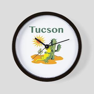 Tucson Lizard Under Cactus Wall Clock