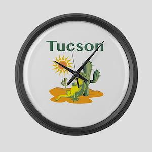 Tucson Lizard Under Cactus Large Wall Clock