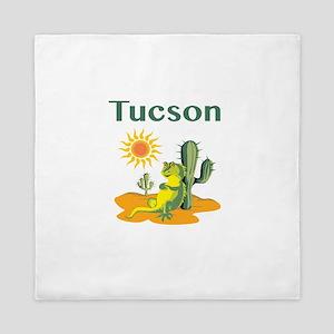 Tucson Lizard Under Cactus Queen Duvet
