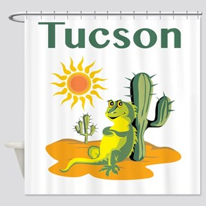 Tucson Lizard under Cactus Shower Curtain