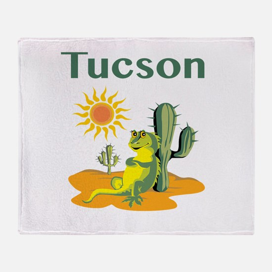 Tucson Lizard Under Cactus Throw Blanket