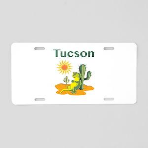 Tucson Lizard Under Cactus Aluminum License Plate
