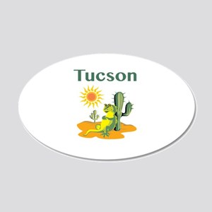 Tucson Lizard Under Cactus 20x12 Oval Wall Decal