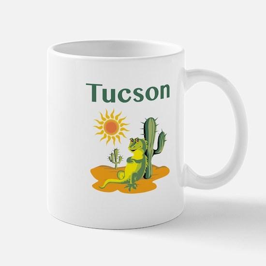 Tucson Lizard Under Cactus Mugs